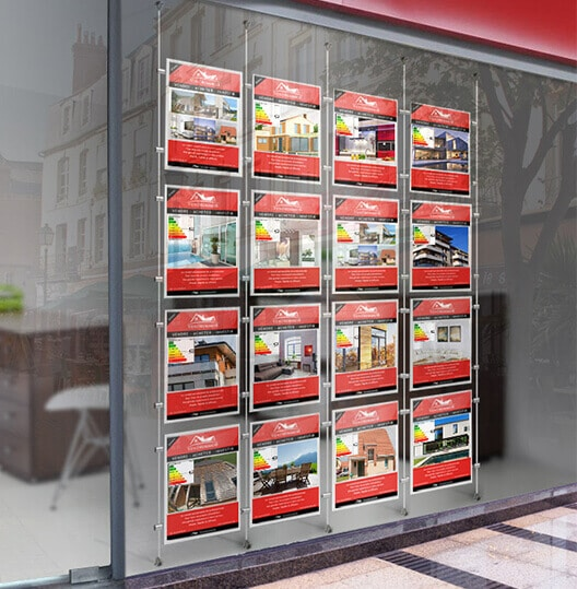 affichage cadres suspendus pour signalétique intérieure d'agence immobilière ou intérim