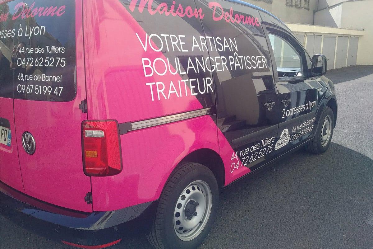 Covering du véhicule de la boulangerie Maison Delorme à Lyon