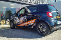 Covering des véhicules du magasin Flamme & création sur la RN6 à Saint-Priest