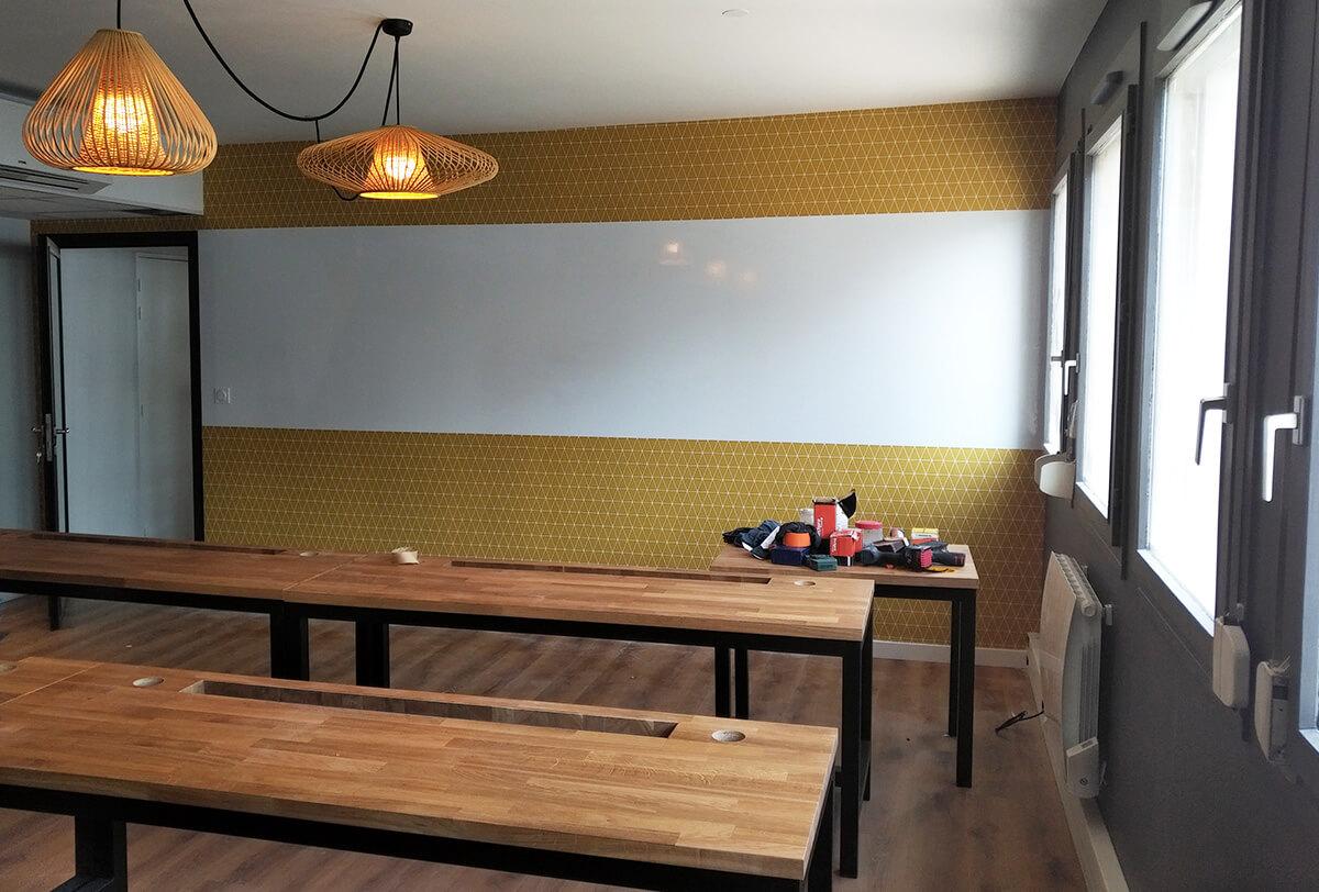 Adhésivage, réalisation et pose d'un espace de coworking sur Lyon