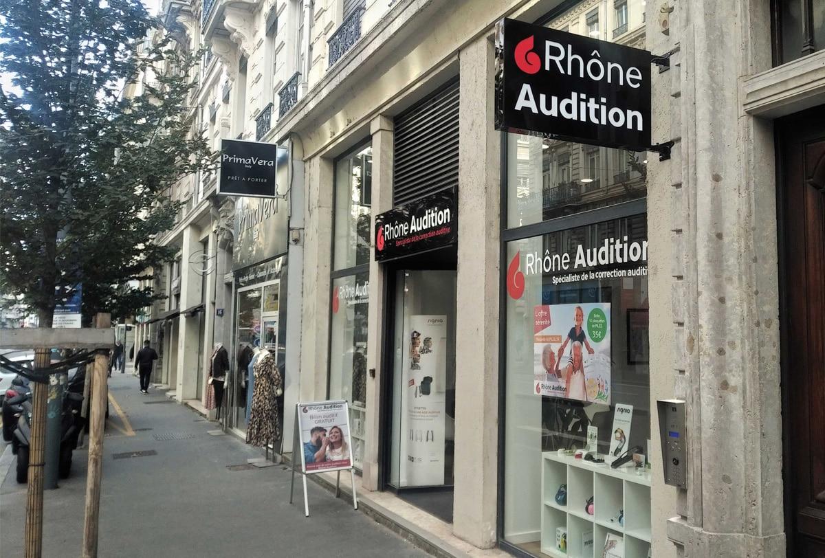Réalisation de l'Enseigne Signalétique Rhône Audition, Lyon 3